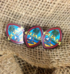 3 pc Modern Guam  Lapen Pin Set - 1.25 inches tall (Close front view)