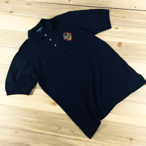 Men's Embroidered Modern Guam Seal Pique Knit Navy Blue Polo