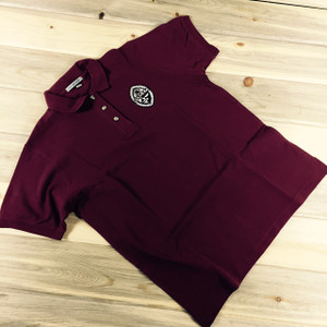 Ladies' Embroidered Modern Guam Seal Pique Knit Burgundy Polo