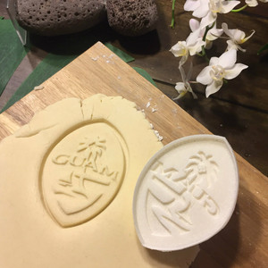 Modern Guam Seal Resin Cookie Cutter Stamp - 3.5 inch