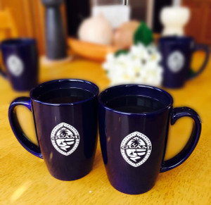 Tribal Guam Seal  2-pc Cobalt Ceramic Mug Set - 14oz
