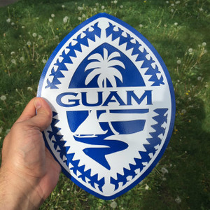 Ocean Blue Metal Tribal Guam Seal Wall Art
