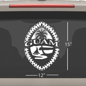 Mega Tribal Guam Seal Single Vinyl Decal - 12x15 inches