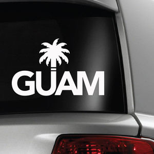 Guam Palm White Vinyl Decal - 4x6
