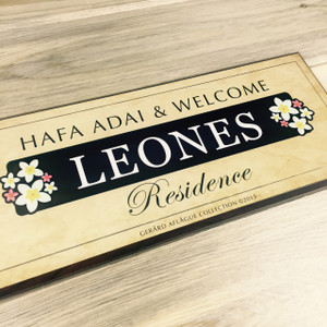 Residential Family Name Porch Plaque Two Plumeria Motif