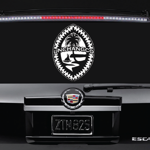 Personalized Tribal Guam Seal White Decal 12x15