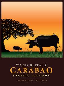 Water Buffalo - Karabao - 18x24  Illustration - Pacific Islands [FBO]