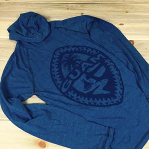 Light-Weight Guam Tribal Seal Unisex Blue Soft Hooded T-Shirt