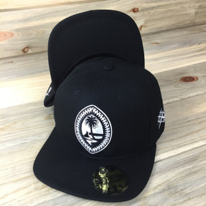 All-Black Tribal Guam Motif Snap Back Hat