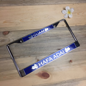Breadfruit Leaves Blue Hafa Adai Guam Chrome License Plate Frame