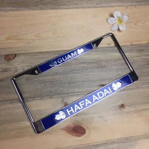 Breadfruit Leaves Blue Hafa Adai Guam Chrome License Plate Frame