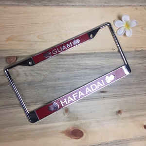 Breadfruit Leaves Red Hafa Adai Guam Chrome License Plate Frame