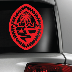 Red Guam Tribal Seal Sticker Decal