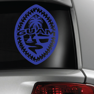 Blue Tribal Guam Seal Sticker Decal