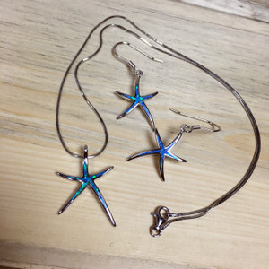 Blue Starfish Pendant, Chain, and Earring Set in Sterling Silver
