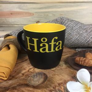 Hafa Adai Black and Yellow Ceramic Mug - 10 oz