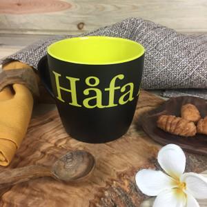 Hafa Adai Black and Lime Ceramic Mug - 10 oz