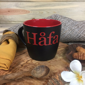Hafa Adai Black and Red Ceramic Mug - 10 oz