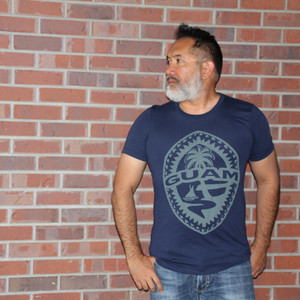 Tribal Guam Seal Navy Blue Triblend T-Shirt