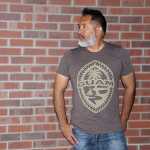 Tribal Guam Seal Coffee Brown Triblend T-Shirt