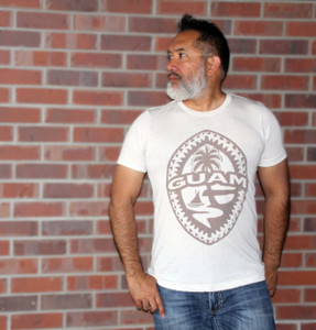 Tribal Guam Seal White Triblend T-Shirt