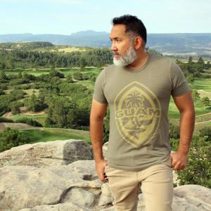 Modern Guam Seal Olive Triblend T-Shirt