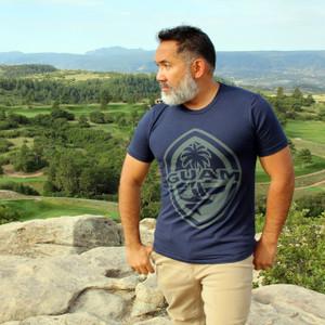 Modern Guam Seal Navy Blue Triblend T-Shirt