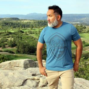Modern Guam Seal Steel Blue Triblend T-Shirt