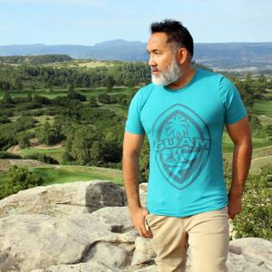 Modern Guam Seal Teal Triblend T-Shirt