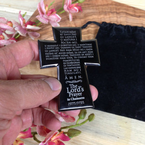 Stainless Chamorro Lord's Prayer Cross w/Sachet