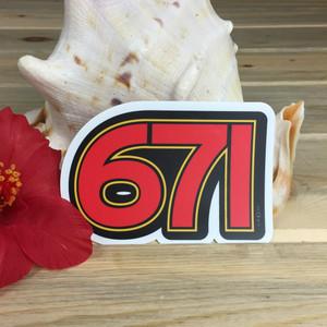 671 Guam Area Code - Dope Decals