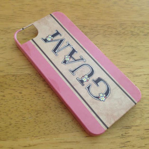 iPhone 5 & 5s Guam in Pink Panels w/Plumeria Motif - Left View