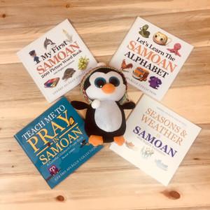 Samoan Children's Books and Penguin Plush Toy Gift Set