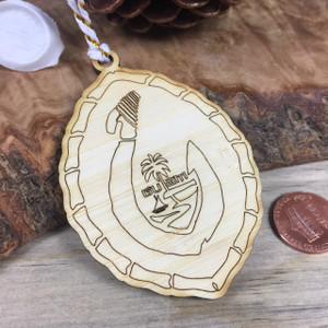 Lasered Guam Bamboo Fishhook Ornament