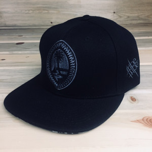 Blacken Gray Tribal Guam Motif Snap Back Hat