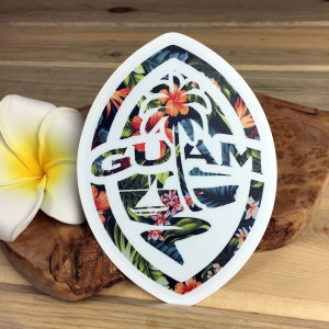 Modern Guam Seal Floral Colored Dope Sticker Decal