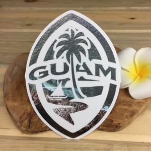 "Modern Guam Seal Crashing Waves Dope Decal - 6"" Tall"
