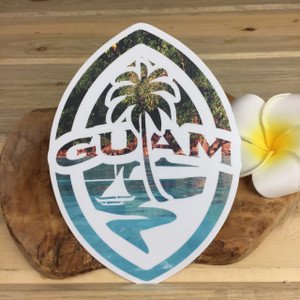 "Modern Guam Seal Tropical Shore Dope Decal - 6"" Tall"