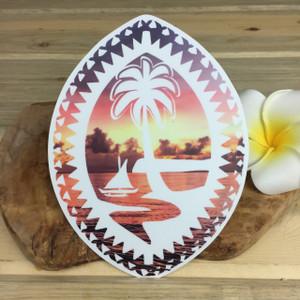 "Tribal Guam Seal Sunset Dope Decal Sticker - 5"" Tall"