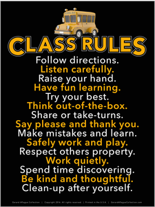 High Quality Print - Class Rules Poster  - 18x24