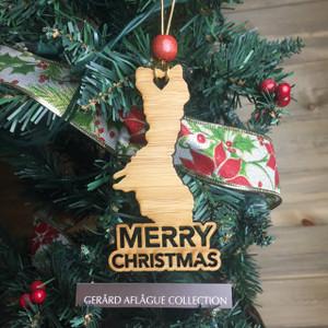 New Guam Heart Christmas Tree Bamboo Wood Ornament (Chamorro)