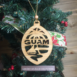 New Modern Guam Christmas Tree Bamboo Wood Ornament (Chamorro)