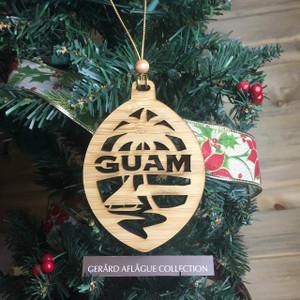 New Modern Guam Christmas Tree Bamboo Wood Ornament (Chamorro)
