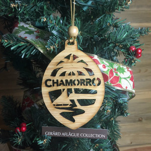New Chamorro Guam Seal Christmas Tree Bamboo Wood Ornament