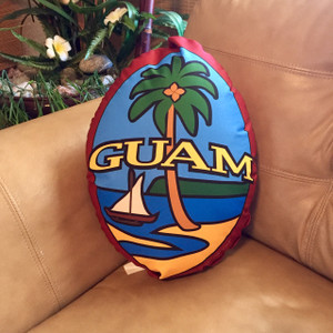 "Double Sided Contoured Modern Guam Seal Pillow - 16"" Tall"