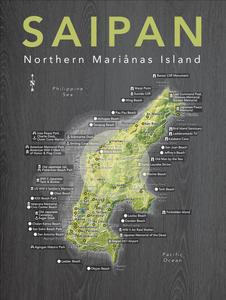 Detailed Map of Saipan, NMI - 18x24