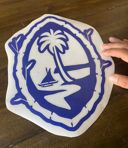 "11"" Guam Seal in Bamboo Motif Vinyl Decal"