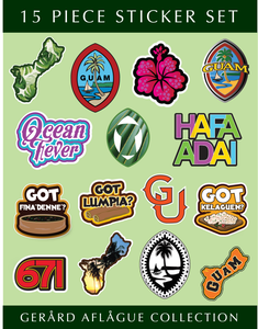 8.5x11 Inch - 15 pc Guam Sticker Set