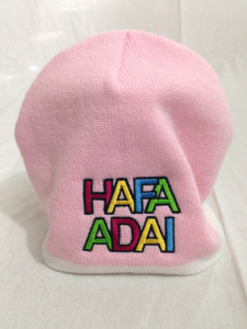 Hafa Adai Embroidered on Pink and Cream Beanie - Front View