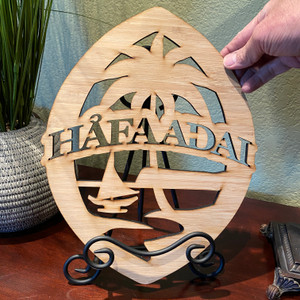 "13.5"" Hafa Adai Guam Seal Motif Bamboo Wood Decor"